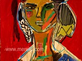 moderne-kunst.-malerei-gemalde.merello.-figura-sobre-fondo-rojo-(73-x-54-cm)-mix-media-on-wood.