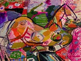 moderne-kunst.-malerei-gemalde-merello.-mujer-recostada-en-el-sillon-rosa-(54-x-73-cm)-mix-media-on-wood.